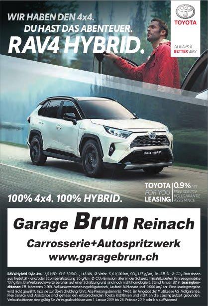 Garage Brun, Reinach - WIR HABEN DEN 4x4. DU HAST DAS ABENTEUER. RAV4 HYBRID.