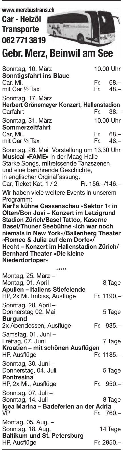 Reiseprogramm, Gebr. Merz Transporte, Beinwil am See
