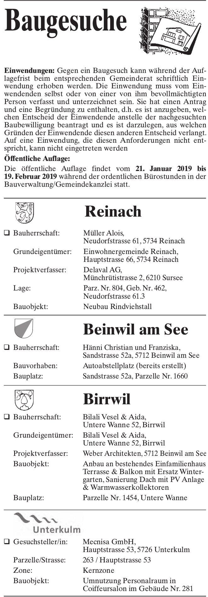 Baugesuche Reinach, Beinwil am See, Birrwil & Unterkulm