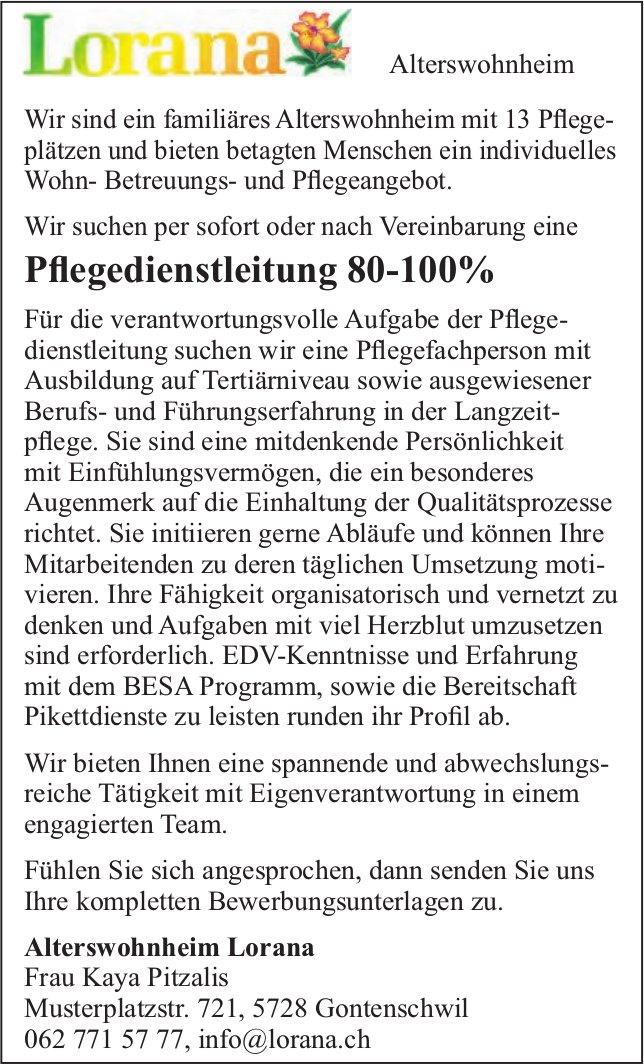 Pflegedienstleitung 80-100%, Alterswohnheim Lorana, Gontenschwil, gesucht