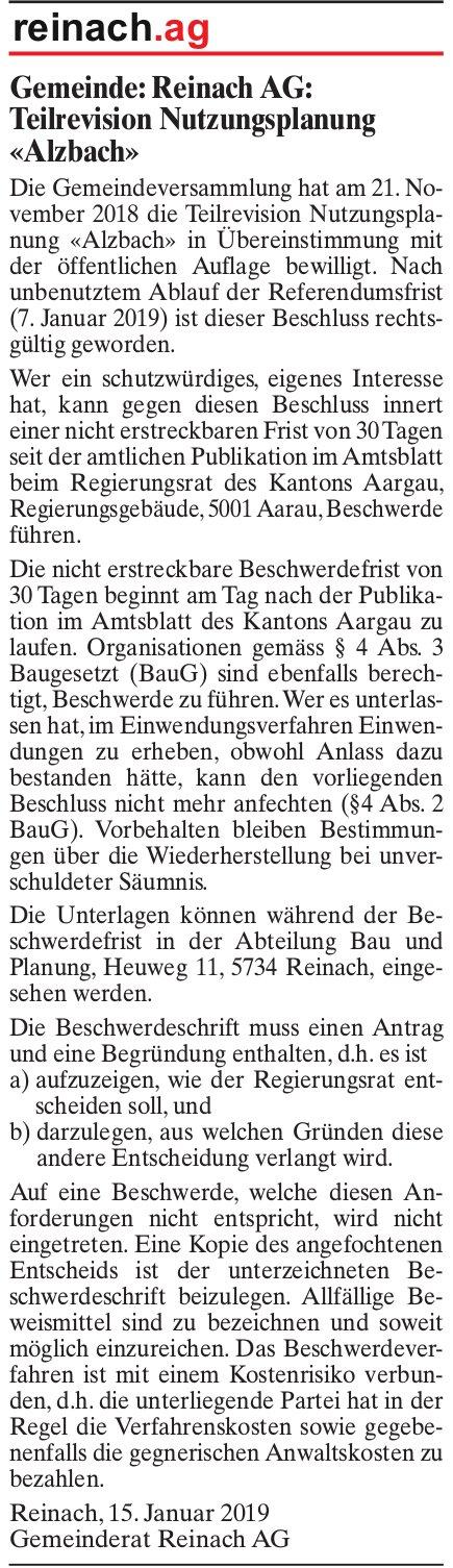 Gemeinde Reinach AG: Teilrevision Nutzungsplanung «Alzbach»