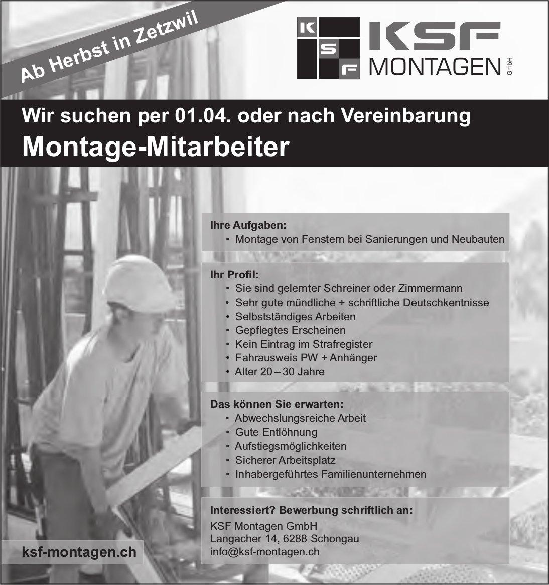 Montage-Mitarbeiter, KSF Montagen GmbH, Schongau, gesucht