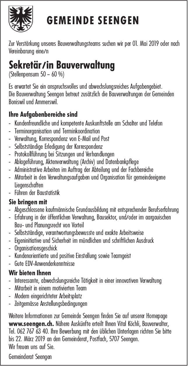 Sekretär/in Bauverwaltung, 50 – 60%, Gemeinde Seengen, gesucht