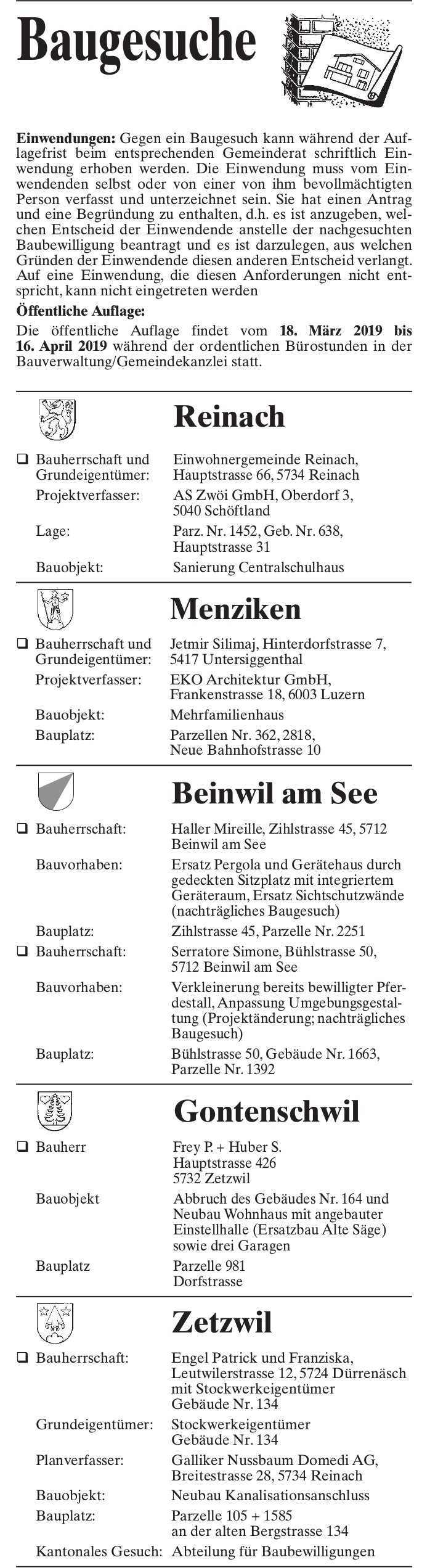 Baugesuche Reinach, Menziken, Beinwil am See, Gontenschwil & Zetzwil
