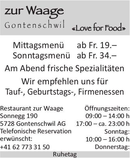 Restaurant zur Waage, Gontenschwil - Wir empfehlen uns für Tauf-, Geburtstags-, Firmenessen