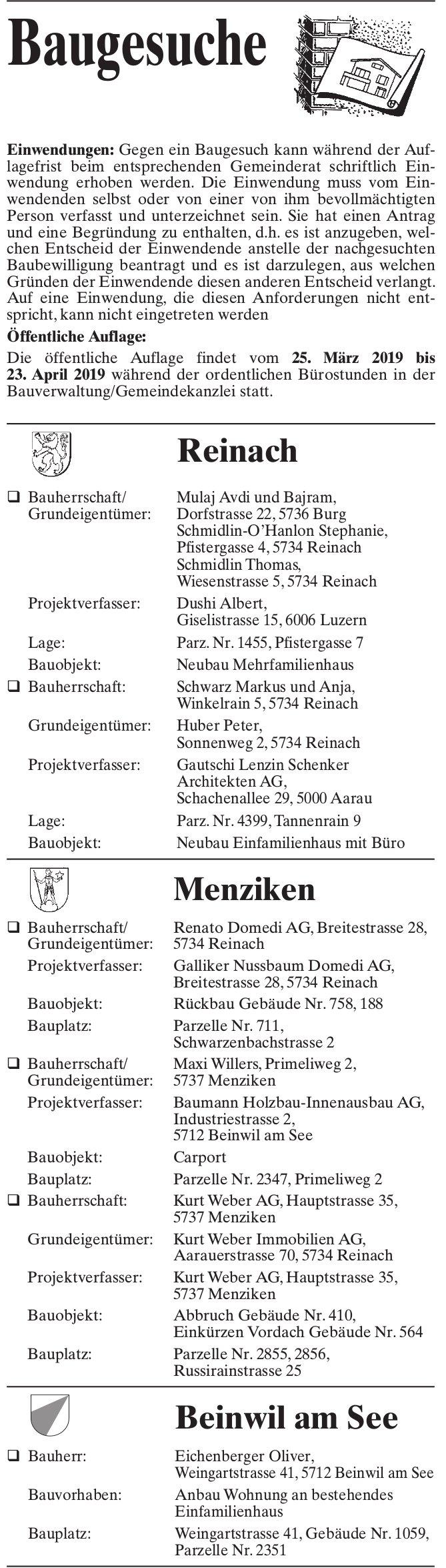 Baugesuche Reinach, Menziken & Beinwil am See