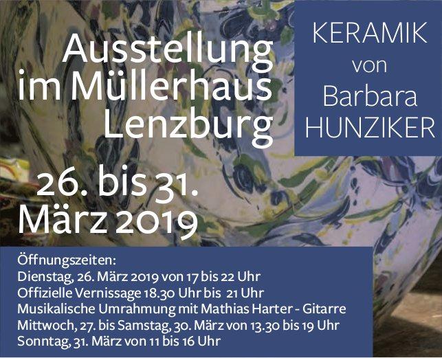 Ausstellung KERAMIK von Barbara HUNZIKER, 26. - 31. März, im Müllerhaus Lenzburg