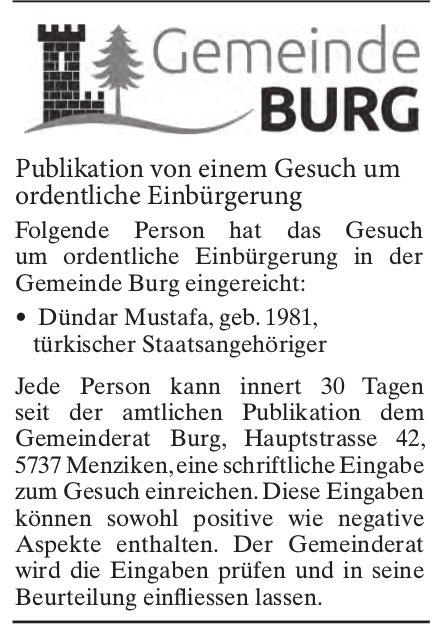Publikation von einem Gesuch um ordentliche Einbürgerung, Gemeinde Burg