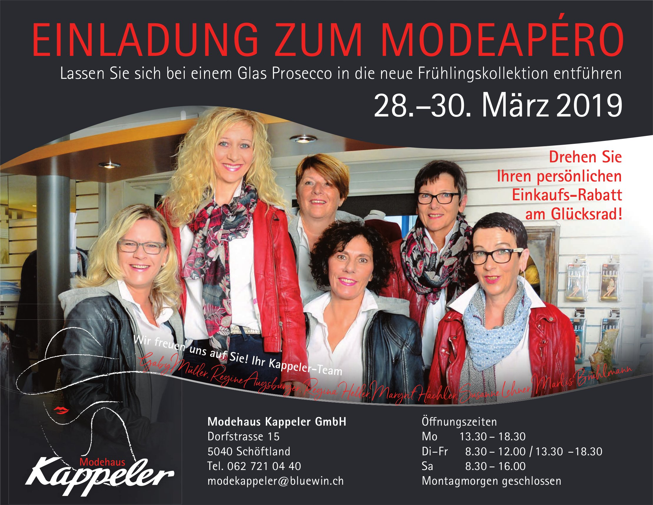 EINLADUNG ZUM MODEAPÉRO, 28. - 30. März, Modehaus Kappeler GmbH, Schöftland