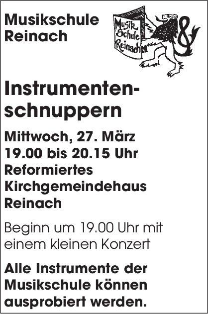 Musikschule Reinach - Instrumentenschnuppern, 27. März, Reformiertes Kirchgemeindehaus Reinach