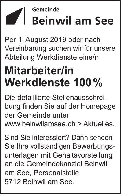 Mitarbeiter/in Werkdienste 100%, Gemeinde Beinwil am See, gesucht
