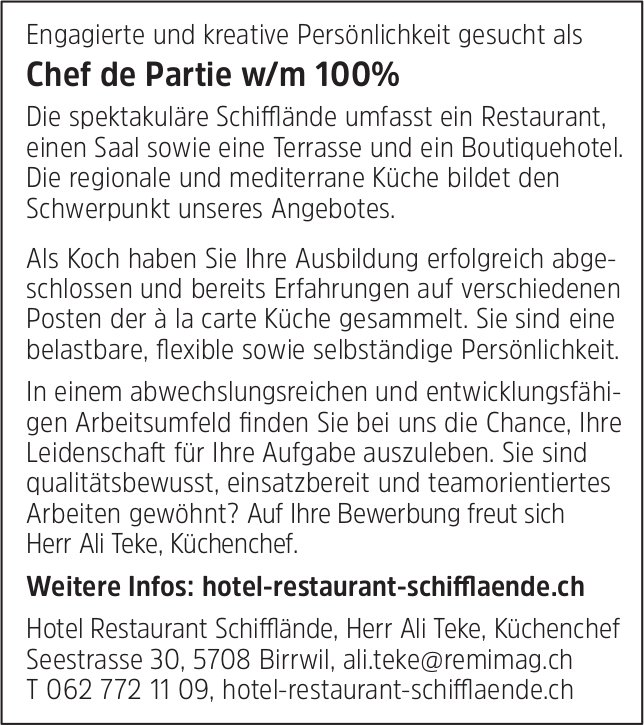 Chef de Partie w/m 100%, Hotel Restaurant Schifflände, Birrwil, gesucht