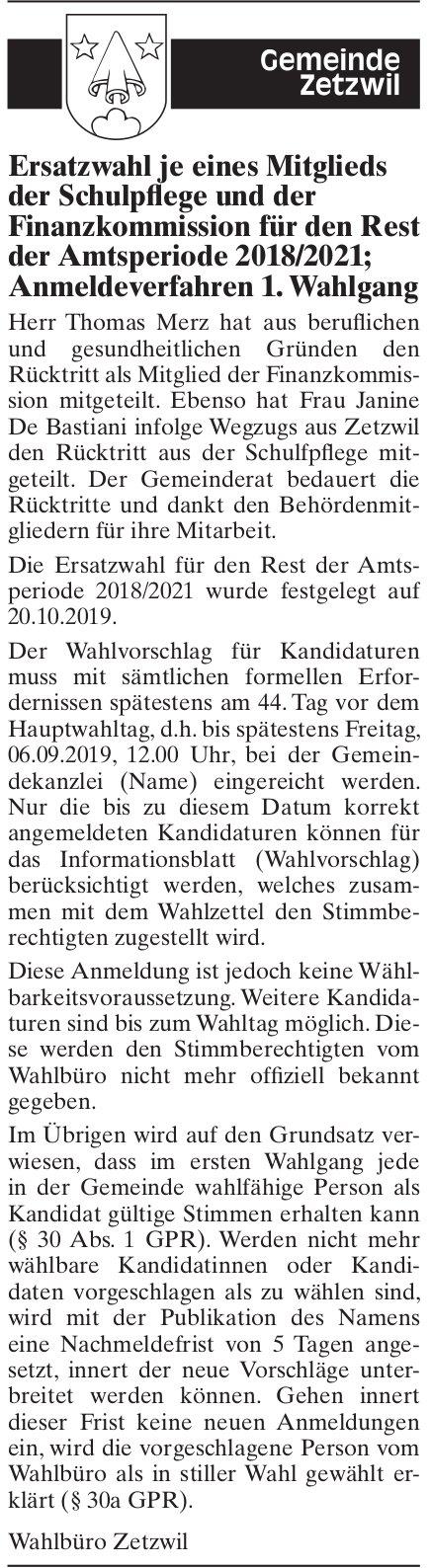 Ersatzwahl je eines Mitglieds der Schulpflege und der Finanzkommission, Zetzwil
