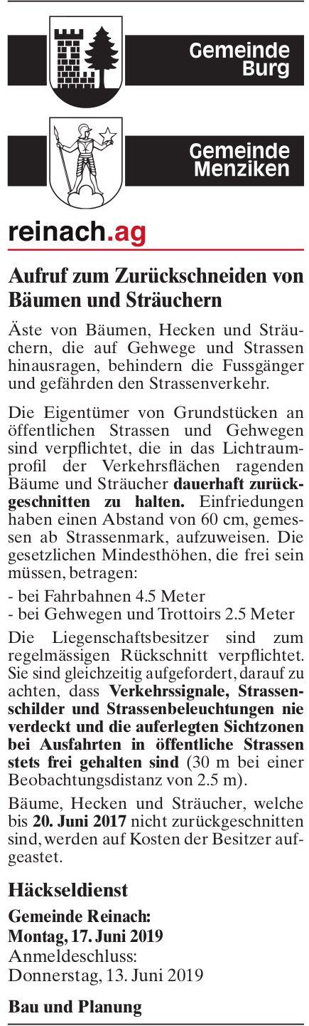 Aufruf zum Zurückschneiden von Bäumen und Sträuchern, Menziken & Burg