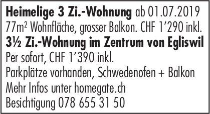 3.5 Zi.-Wohnung im Zentrum von Egliswil, zu vermieten