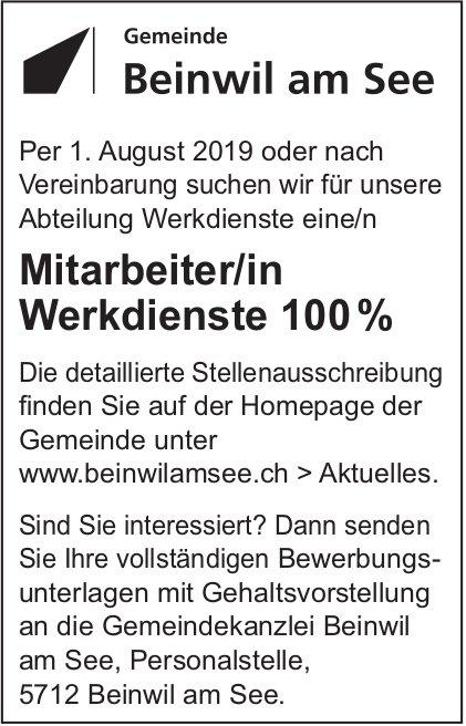 Mitarbeiter/in Werkdienste 100%, Beinwil am See, gesucht