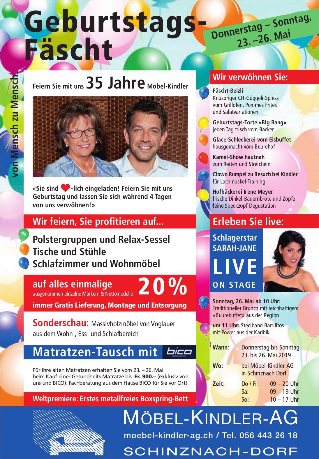 Geburtstags-Fäscht, 23. - 26. Mai, MÖBEL-KINDLER-AG, Schinznach-Dorf