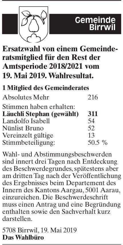 Ersatzwahl von einem Gemeinderatsmitglied, Birrwil - Wahlresultat