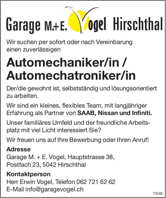 Automechaniker/in / Automechatroniker/in, Garage M. + E. Vogel, Hirschthal, gesucht