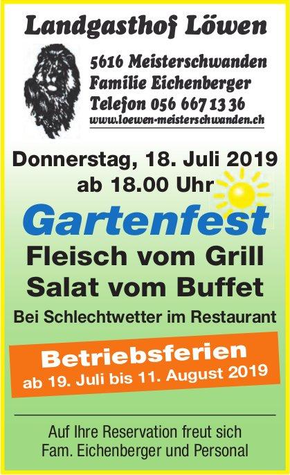 Gartenfest, 18. Juli, Landgasthof Löwen, Meisterschwanden