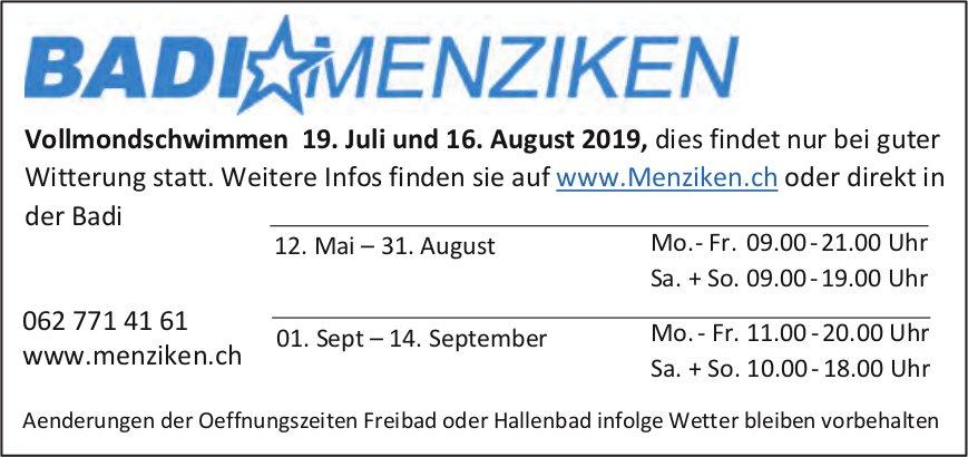 Badi Menziken - Vollmondschwimmen und Öffnungszeiten