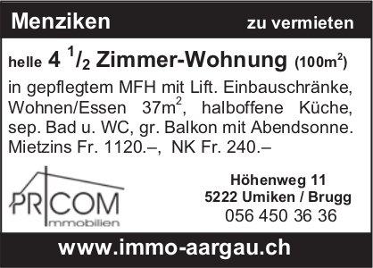 4.5 Zimmer-Wohnung (100m2), Menziken, zu vermieten