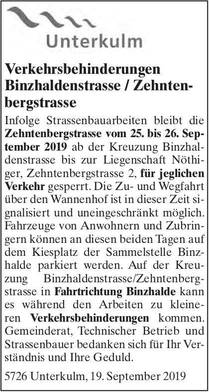 Verkehrsbehinderungen Binzhaldenstrasse / Zehntenbergstrasse, Unterkulm