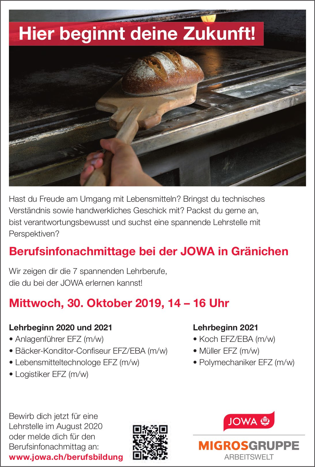 Berufsinfonachmittage, 30. Oktober, bei der JOWA in Gränichen