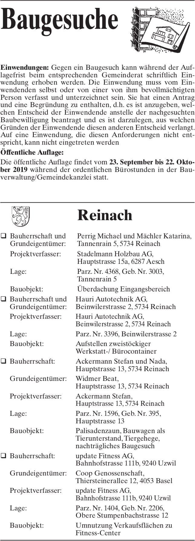 Baugesuche Reinach