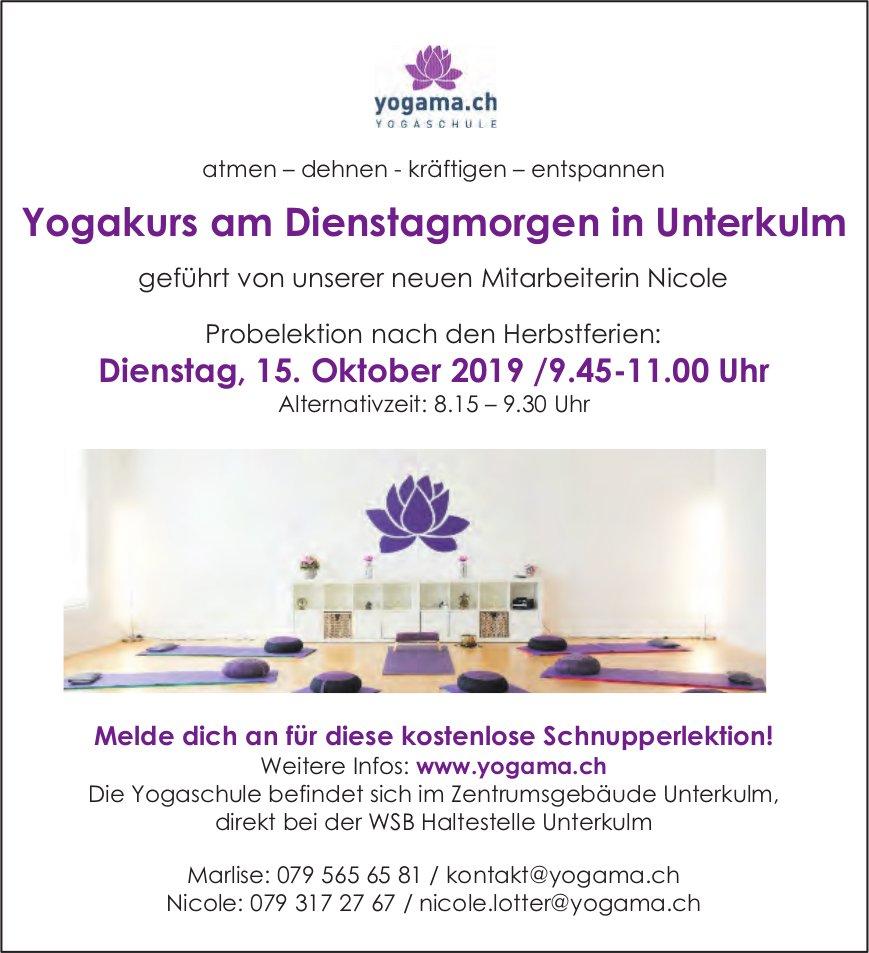 Yogakurs am Dienstagmorgen in Unterkulm, 15. Oktober