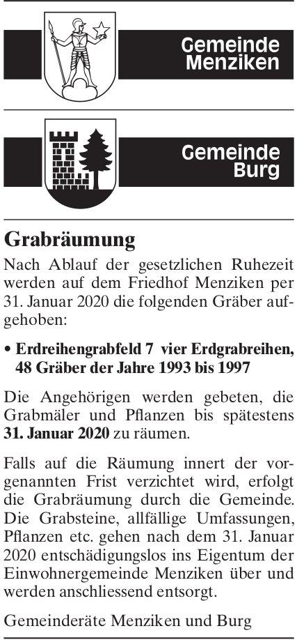 Grabräumung, Menziken & Burg