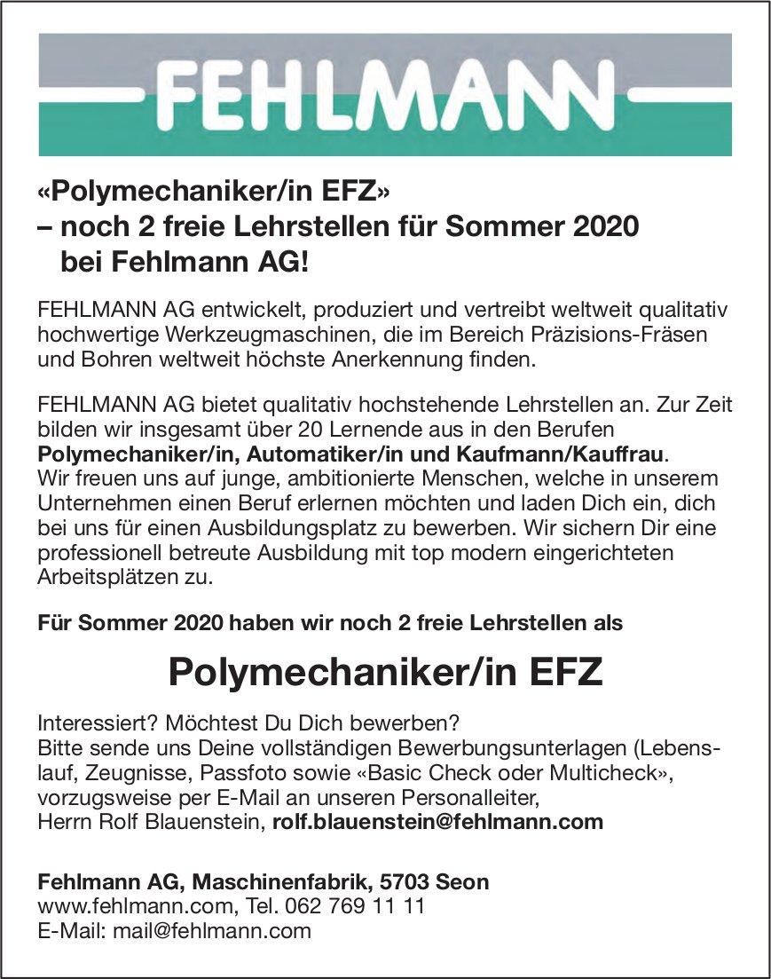 «Polymechaniker/in EFZ» – noch 2 freie Lehrstellen für Sommer 2020 bei Fehlmann AG!, Seon