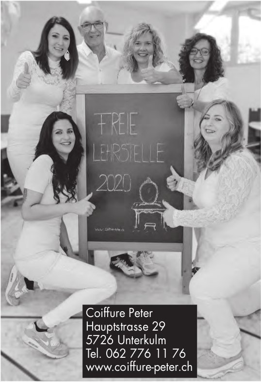 Coiffure Peter, Unterkulm - Freie Lehrstelle 2020