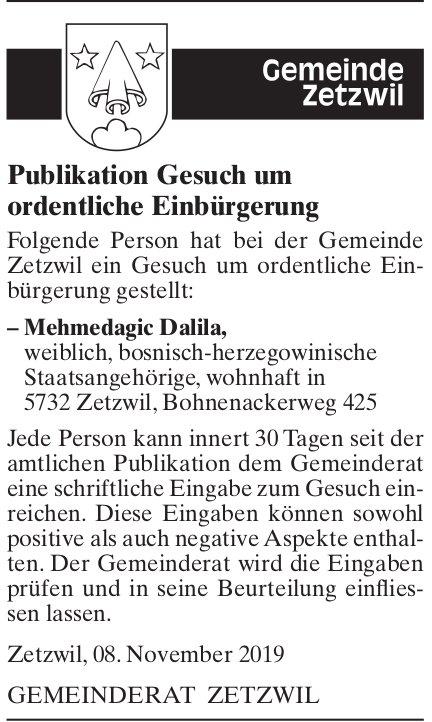 Publikation Gesuch um ordentliche Einbürgerung - Gemeinde Zetzwil