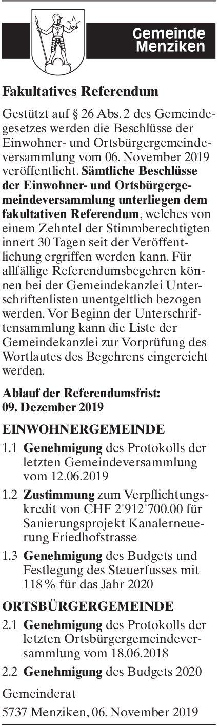 Fakultatives Referendum - Gemeinde Menziken