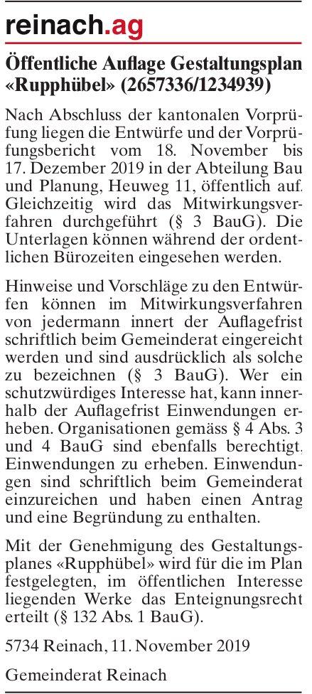 Öffentliche Auflage Gestaltungsplan «Rupphübel» (2657336/1234939), Reinach