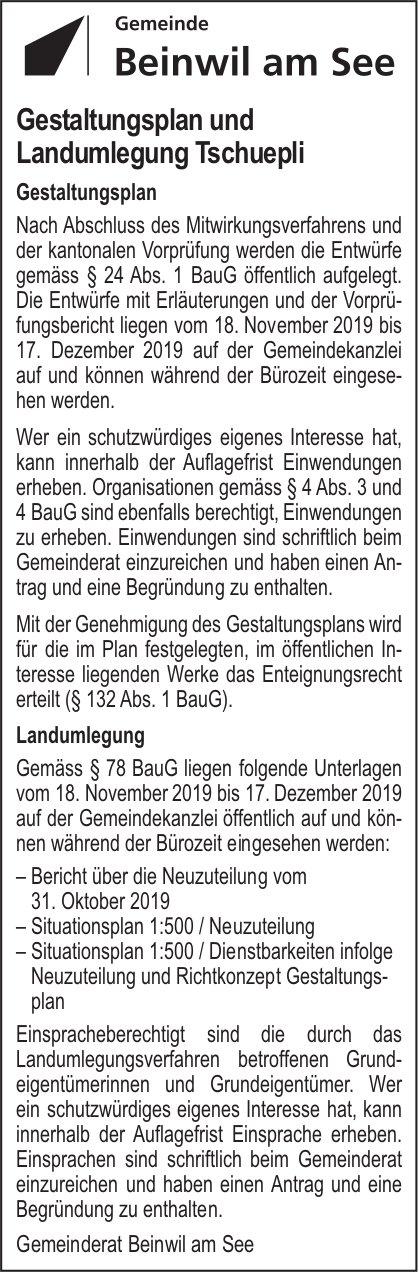 Gestaltungsplan und Landumlegung Tschuepli, Beinwil am See