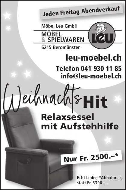 Möbel Leu GmbH, MÖBEL & SPIELWAREN, Beromünster - Weihnachtshit