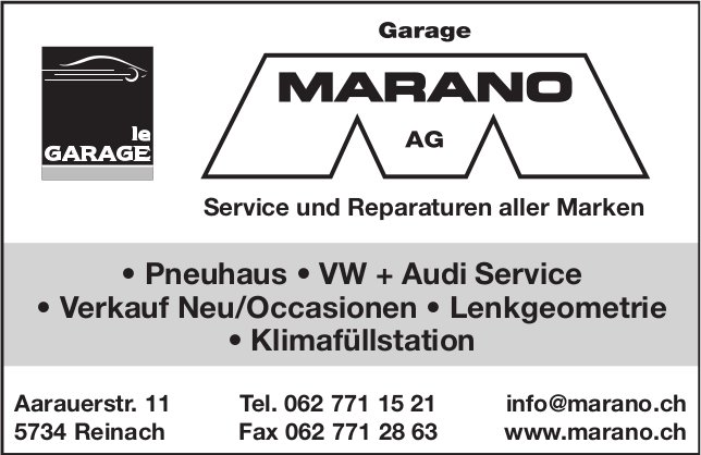 GARAGE MARANO AG, Reinach - Service und Reparaturen aller Marken