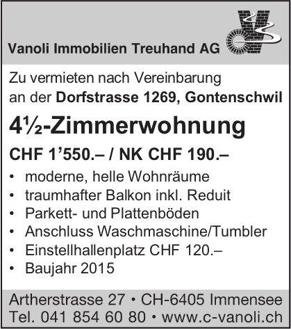 4.5-Zimmerwohnung, Gontenschwil, zu vermieten