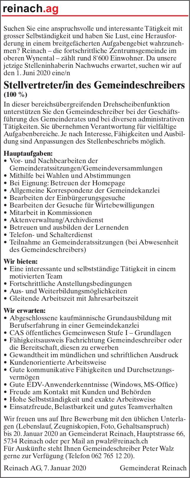 Stellvertreter/in des Gemeindeschreibers (100%), Reinach, Gesucht