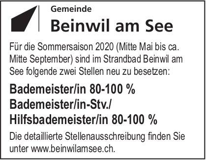 Bademeister/in 80-100%, Bademeister/in-Stv./ Hilfsbademeister/in 80-100%, Beinwil, Gesucht