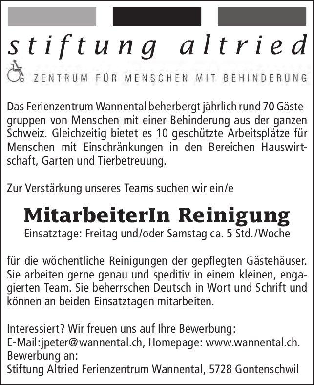 MitarbeiterIn Reinigung, Stiftung Altried Ferienzentrum Wannental,  Gontenschwil, Gesucht