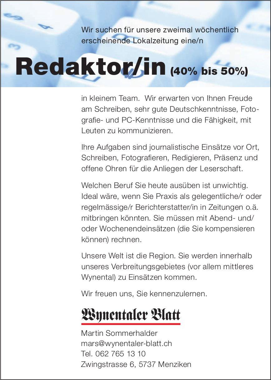 Redaktor/in (40% bis 50%), Wynentaler Blatt,  Menziken, Gesucht