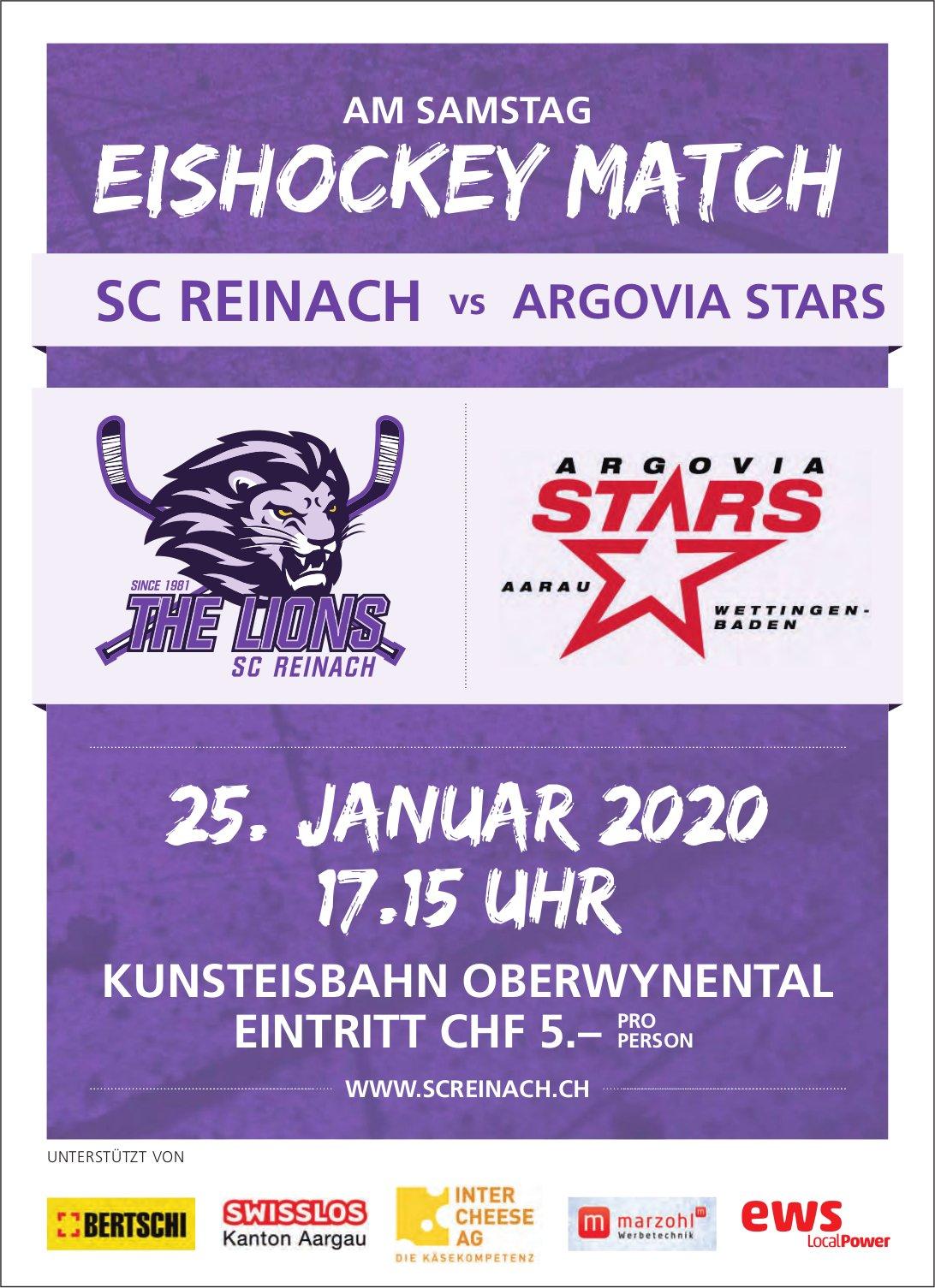SC REINACH vs. ARGOVIA STARS, 25. Januar, KUNSTEISBAHN OBERWYNENTAL
