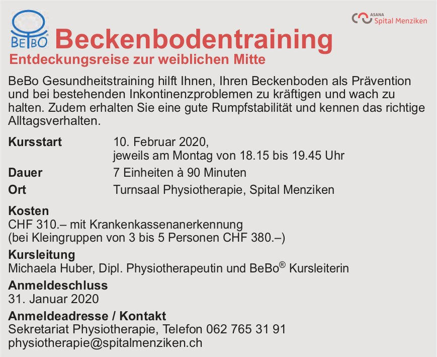 Beckenbodentraining, ab 10. Februar 2020, Turnsaal Physiotherapie, Spital Menziken