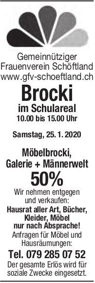Möbelbrocki, Galerie + Männerwelt 50%, 25. Januar, im Schulareal, Schöftland