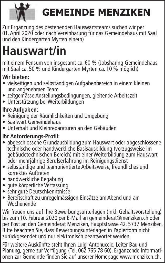 Hauswart/in, Gemeinde, Menziken, Gesucht