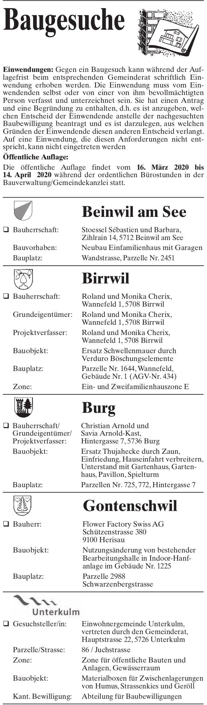 Beinwil am See, Birrwil, Burg, Gontenschwil & Unterkulm - Baugesuche